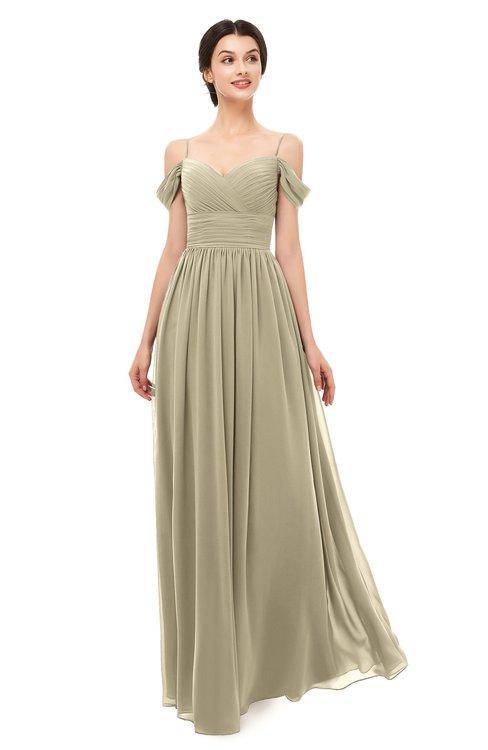 ColsBM Angel Candied Ginger Bridesmaid Dresses Short Sleeve Elegant A-line Ruching Floor Length Backless