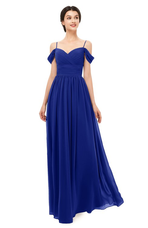 ColsBM Angel Nautical Blue Bridesmaid Dresses Short Sleeve Elegant A-line Ruching Floor Length Backless