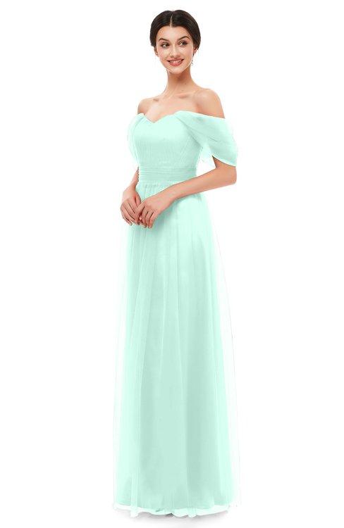 ColsBM Haven Aqua Bridesmaid Dresses Zip up Off The Shoulder Sexy Floor Length Short Sleeve A-line