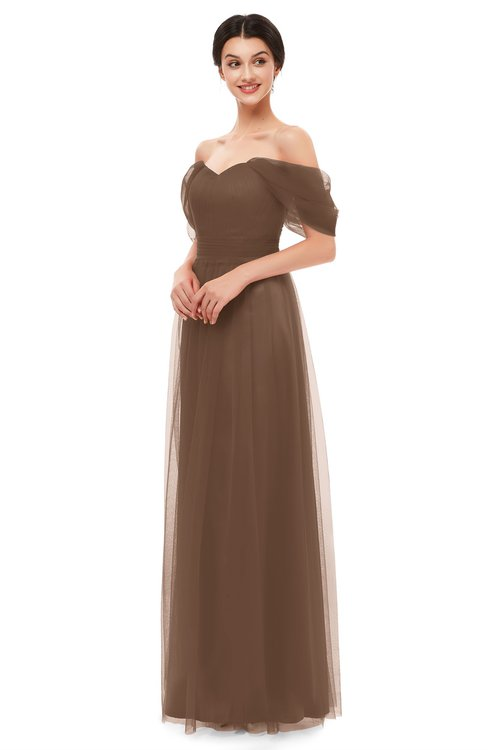 ColsBM Haven Aztec Brown Bridesmaid Dresses Zip up Off The Shoulder Sexy Floor Length Short Sleeve A-line