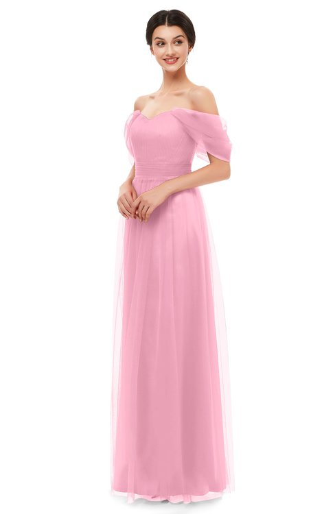 ColsBM Haven Begonia Pink Bridesmaid Dresses Zip up Off The Shoulder Sexy Floor Length Short Sleeve A-line