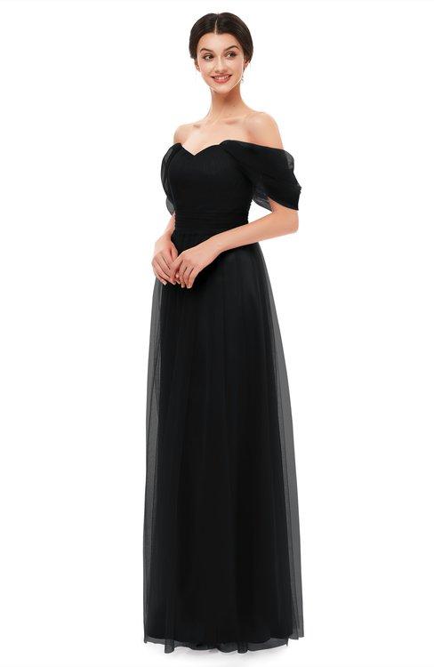 ColsBM Haven Black Bridesmaid Dresses Zip up Off The Shoulder Sexy Floor Length Short Sleeve A-line