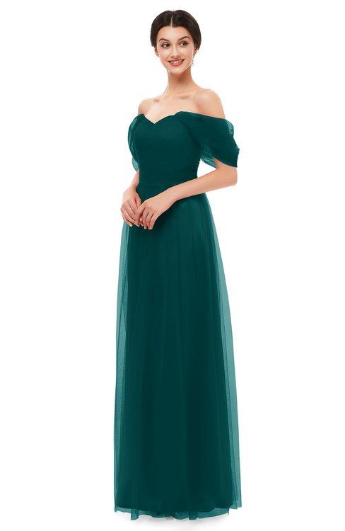 ColsBM Haven Blue Green Bridesmaid Dresses Zip up Off The Shoulder Sexy Floor Length Short Sleeve A-line