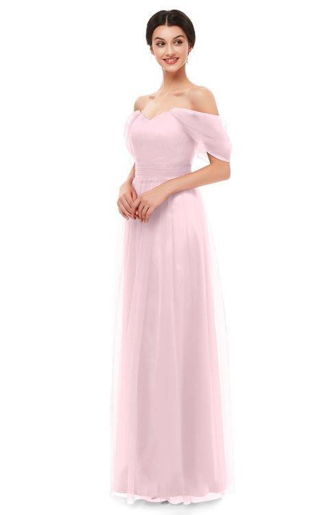 ColsBM Haven Blush Bridesmaid Dresses Zip up Off The Shoulder Sexy Floor Length Short Sleeve A-line