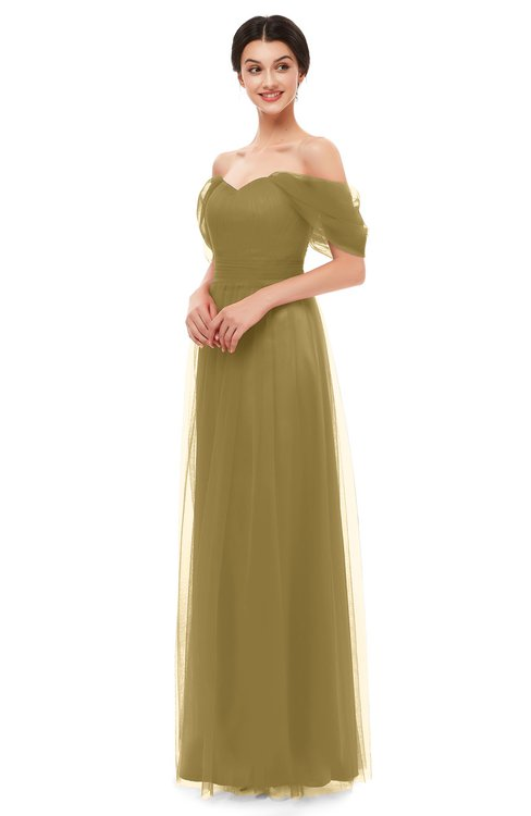 ColsBM Haven Bronze Mist Bridesmaid Dresses Zip up Off The Shoulder Sexy Floor Length Short Sleeve A-line