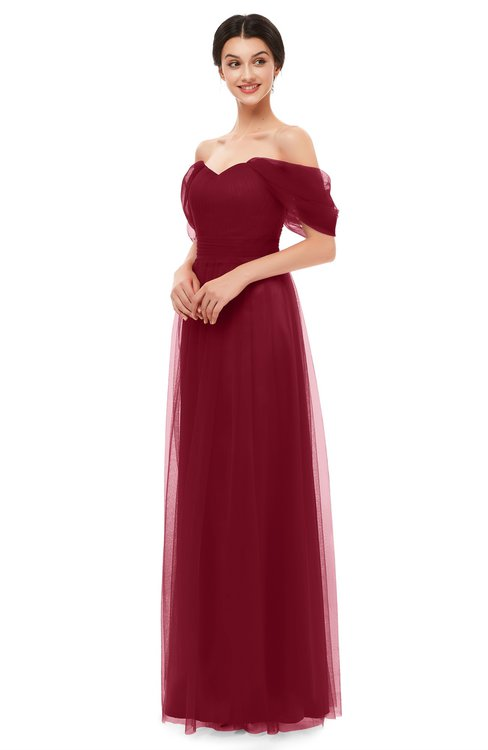 ColsBM Haven Burgundy Bridesmaid Dresses Zip up Off The Shoulder Sexy Floor Length Short Sleeve A-line
