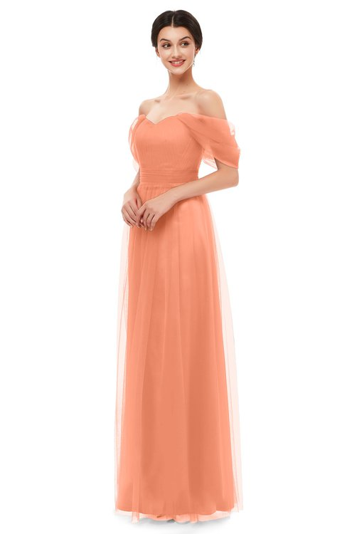 ColsBM Haven Canteloupe Bridesmaid Dresses Zip up Off The Shoulder Sexy Floor Length Short Sleeve A-line