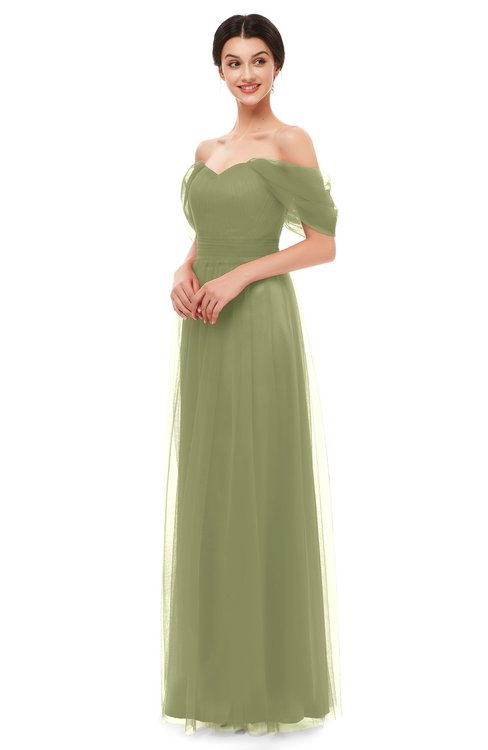 ColsBM Haven Cedar Bridesmaid Dresses Zip up Off The Shoulder Sexy Floor Length Short Sleeve A-line