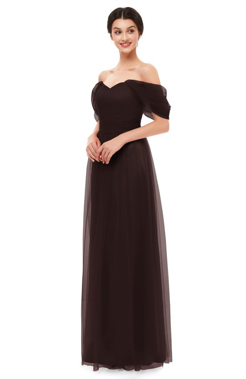 ColsBM Haven Chocolate Brown Bridesmaid Dresses Zip up Off The Shoulder Sexy Floor Length Short Sleeve A-line
