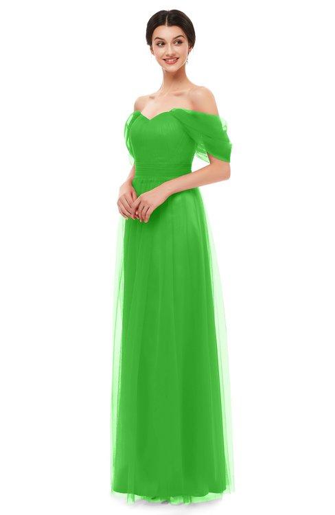 ColsBM Haven Classic Green Bridesmaid Dresses Zip up Off The Shoulder Sexy Floor Length Short Sleeve A-line