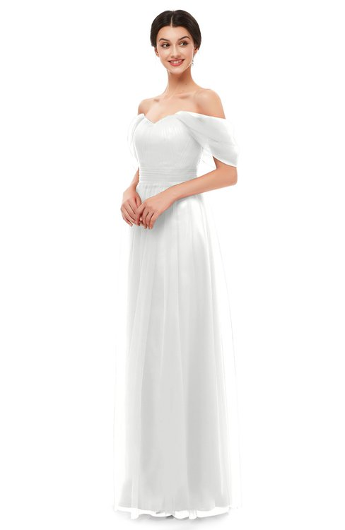 ColsBM Haven Cloud White Bridesmaid Dresses Zip up Off The Shoulder Sexy Floor Length Short Sleeve A-line