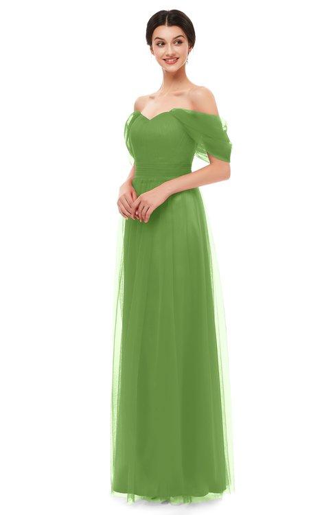 ColsBM Haven Clover Bridesmaid Dresses Zip up Off The Shoulder Sexy Floor Length Short Sleeve A-line