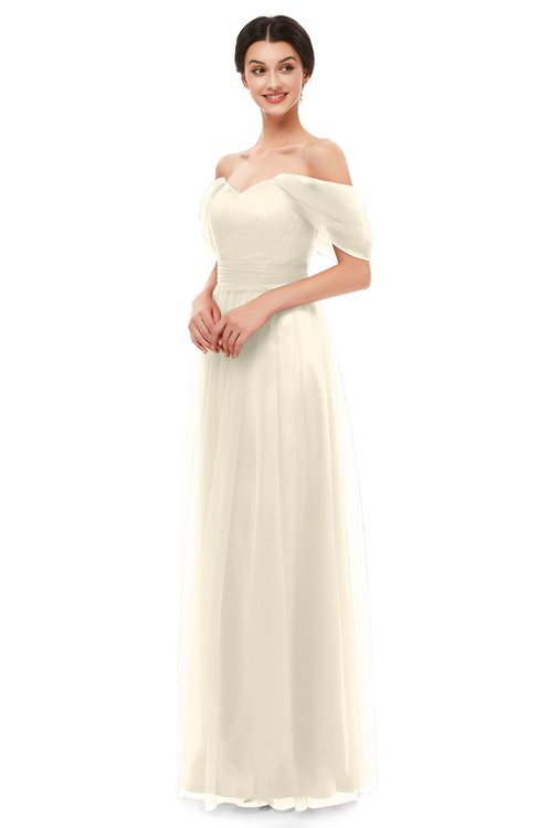 ColsBM Haven Cornhusk Bridesmaid Dresses Zip up Off The Shoulder Sexy Floor Length Short Sleeve A-line