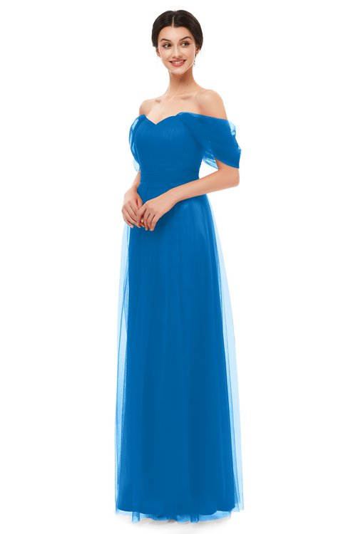 ColsBM Haven Directoire Blue Bridesmaid Dresses Zip up Off The Shoulder Sexy Floor Length Short Sleeve A-line