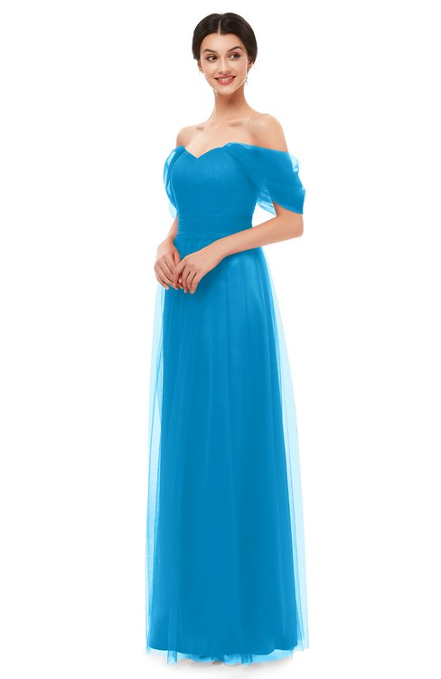 ColsBM Haven Dresden Blue Bridesmaid Dresses Zip up Off The Shoulder Sexy Floor Length Short Sleeve A-line