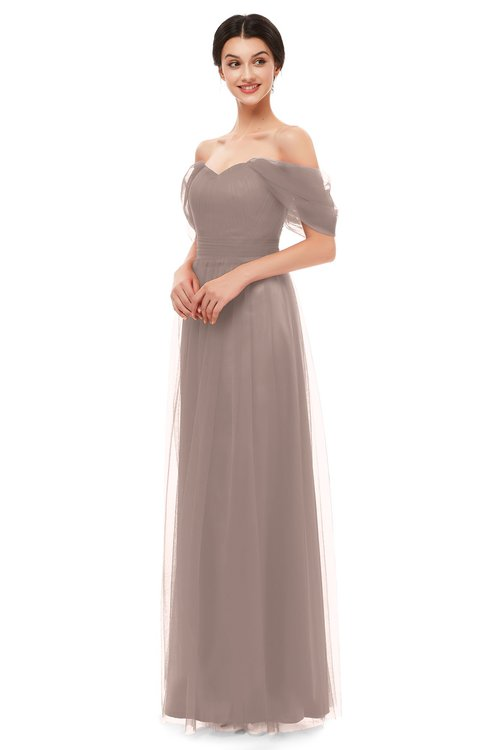 ColsBM Haven Fawn Bridesmaid Dresses Zip up Off The Shoulder Sexy Floor Length Short Sleeve A-line