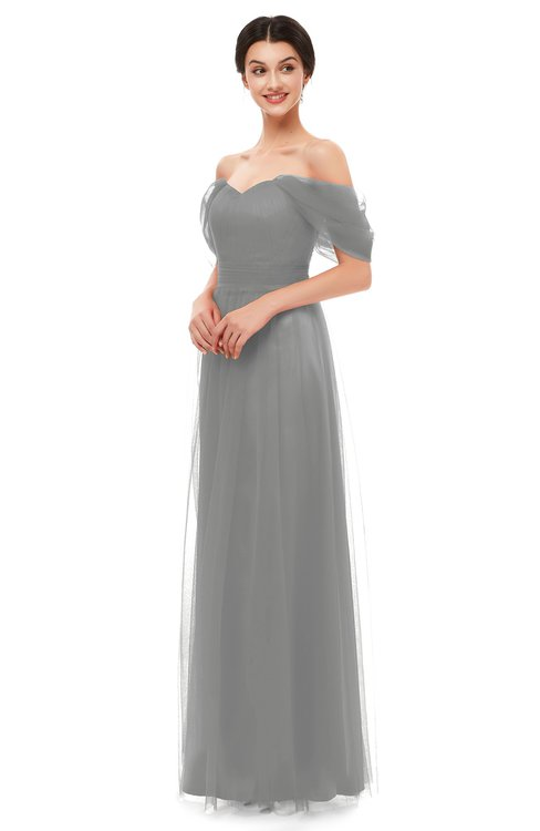 ColsBM Haven Frost Grey Bridesmaid Dresses Zip up Off The Shoulder Sexy Floor Length Short Sleeve A-line