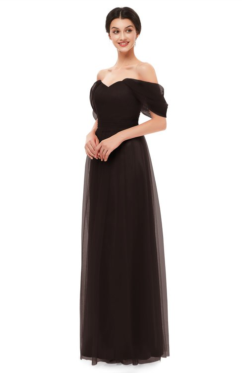 ColsBM Haven Fudge Brown Bridesmaid Dresses Zip up Off The Shoulder Sexy Floor Length Short Sleeve A-line