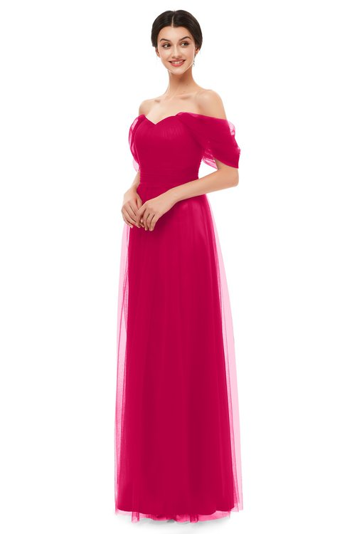 ColsBM Haven Fuschia Bridesmaid Dresses Zip up Off The Shoulder Sexy Floor Length Short Sleeve A-line