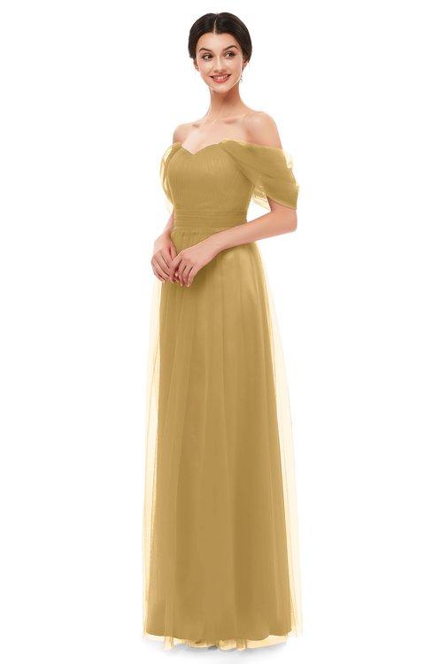 ColsBM Haven Gold Bridesmaid Dresses Zip up Off The Shoulder Sexy Floor Length Short Sleeve A-line