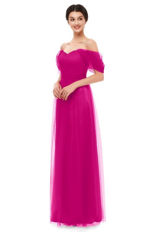 ColsBM Haven Hot Pink Bridesmaid Dresses Zip up Off The Shoulder Sexy Floor Length Short Sleeve A-line
