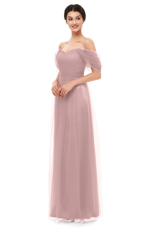 ColsBM Haven Light Coral Bridesmaid Dresses Zip up Off The Shoulder Sexy Floor Length Short Sleeve A-line