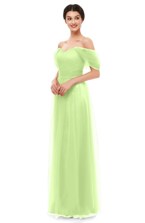 ColsBM Haven Lime Green Bridesmaid Dresses Zip up Off The Shoulder Sexy Floor Length Short Sleeve A-line