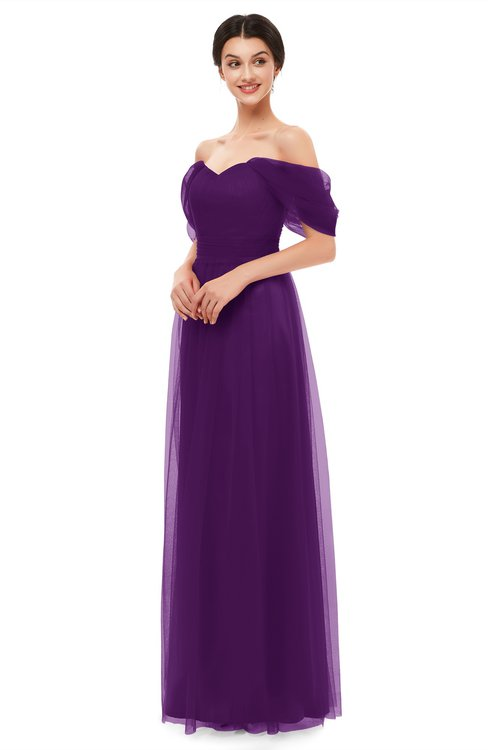 ColsBM Haven Magic Purple Bridesmaid Dresses Zip up Off The Shoulder Sexy Floor Length Short Sleeve A-line