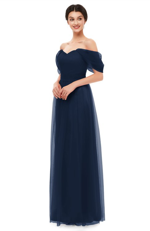ColsBM Haven Navy Blue Bridesmaid Dresses Zip up Off The Shoulder Sexy Floor Length Short Sleeve A-line
