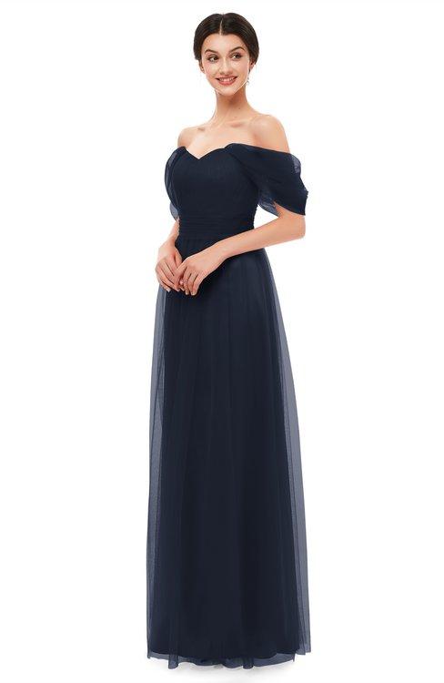 ColsBM Haven Night Sky Bridesmaid Dresses Zip up Off The Shoulder Sexy Floor Length Short Sleeve A-line