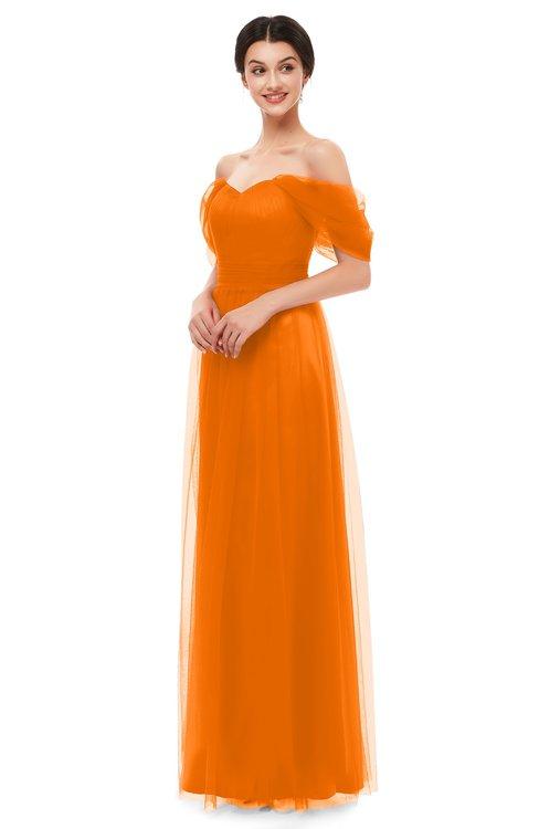 ColsBM Haven Orange Bridesmaid Dresses Zip up Off The Shoulder Sexy Floor Length Short Sleeve A-line