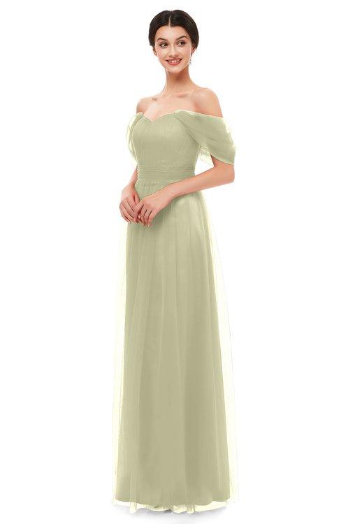 ColsBM Haven Pale Olive Bridesmaid Dresses Zip up Off The Shoulder Sexy Floor Length Short Sleeve A-line