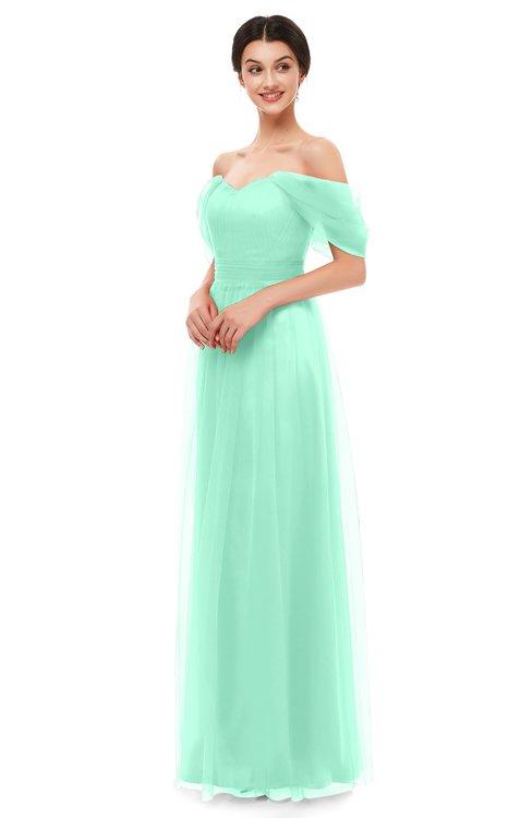 ColsBM Haven Pastel Green Bridesmaid Dresses Zip up Off The Shoulder Sexy Floor Length Short Sleeve A-line