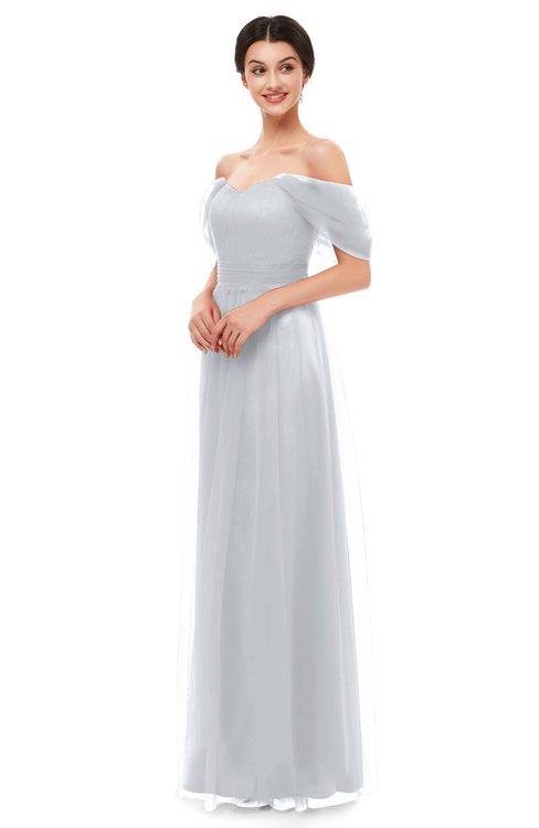 ColsBM Haven Platinum Bridesmaid Dresses Zip up Off The Shoulder Sexy Floor Length Short Sleeve A-line