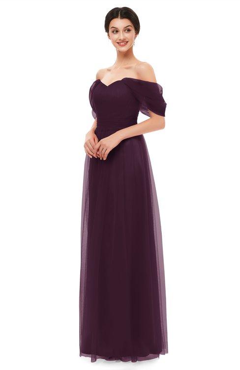 ColsBM Haven Plum Bridesmaid Dresses Zip up Off The Shoulder Sexy Floor Length Short Sleeve A-line