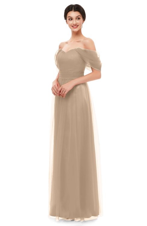 ColsBM Haven Rugby Tan Bridesmaid Dresses Zip up Off The Shoulder Sexy Floor Length Short Sleeve A-line