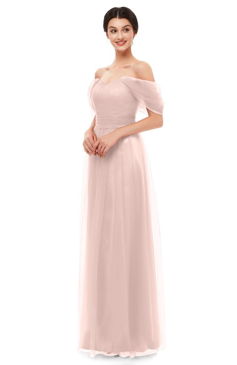 ColsBM Haven Silver Peony Bridesmaid Dresses Zip up Off The Shoulder Sexy Floor Length Short Sleeve A-line