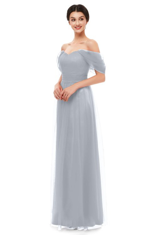 ColsBM Haven Silver Bridesmaid Dresses Zip up Off The Shoulder Sexy Floor Length Short Sleeve A-line