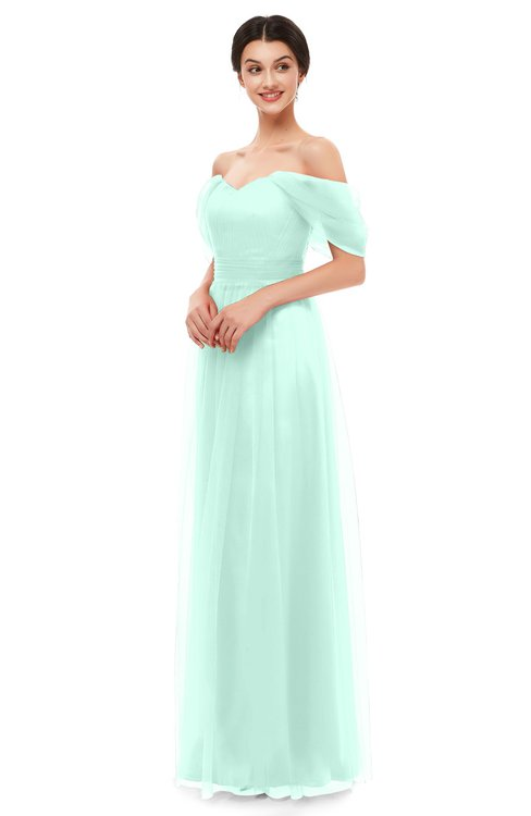 ColsBM Haven Soothing Sea Bridesmaid Dresses Zip up Off The Shoulder Sexy Floor Length Short Sleeve A-line
