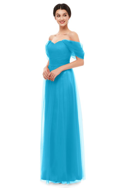 ColsBM Haven Turquoise Bridesmaid Dresses Zip up Off The Shoulder Sexy Floor Length Short Sleeve A-line