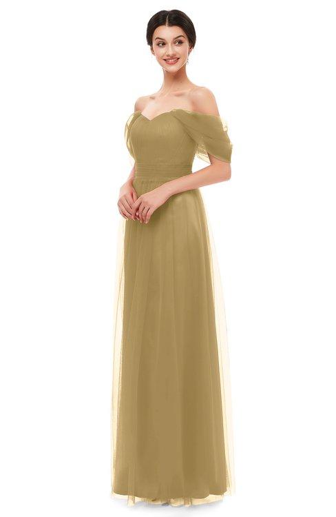 ColsBM Haven Venetian Gold Bridesmaid Dresses Zip up Off The Shoulder Sexy Floor Length Short Sleeve A-line