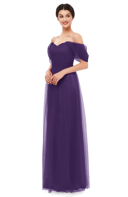 ColsBM Haven Violet Bridesmaid Dresses Zip up Off The Shoulder Sexy Floor Length Short Sleeve A-line