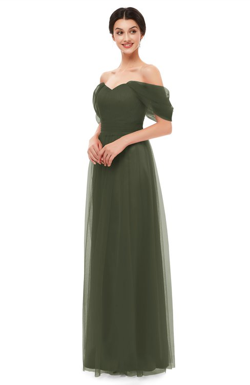 ColsBM Haven Winter Moss Bridesmaid Dresses Zip up Off The Shoulder Sexy Floor Length Short Sleeve A-line