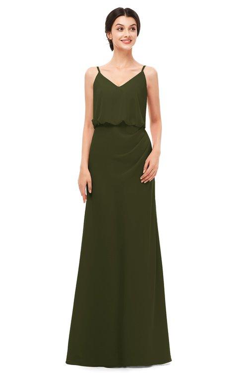 ColsBM Sasha Beech Bridesmaid Dresses Column Simple Floor Length Sleeveless Zip up V-neck
