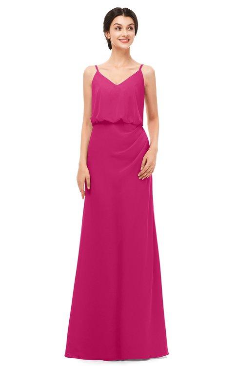 ColsBM Sasha Beetroot Purple Bridesmaid Dresses Column Simple Floor Length Sleeveless Zip up V-neck