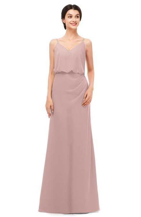 ColsBM Sasha Blush Pink Bridesmaid Dresses Column Simple Floor Length Sleeveless Zip up V-neck