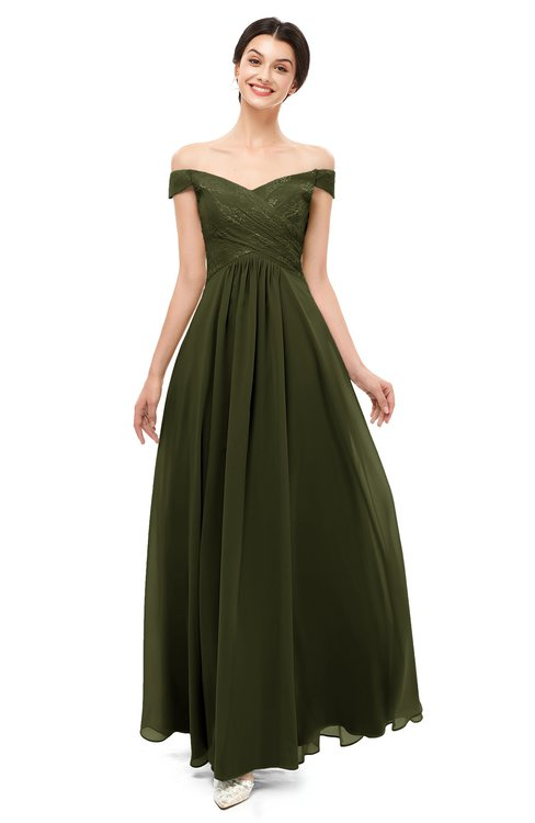 ColsBM Lilith Beech Bridesmaid Dresses Off The Shoulder Pleated Short Sleeve Romantic Zip up A-line