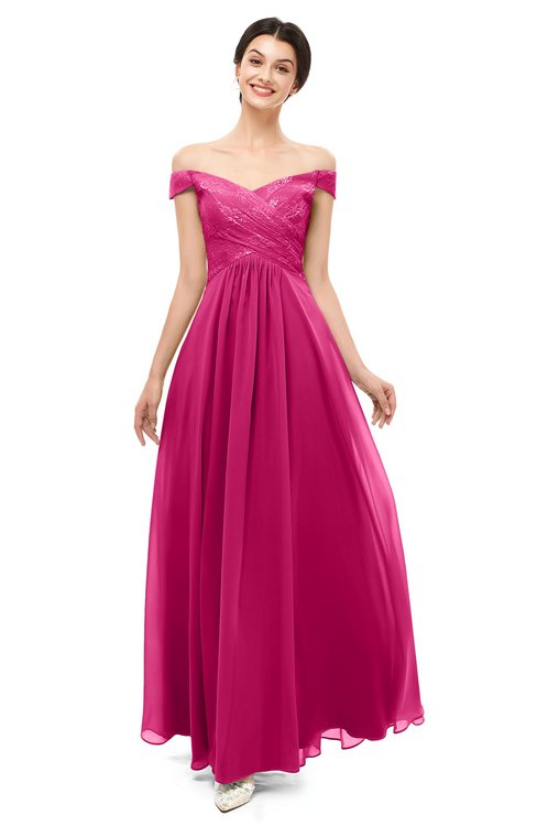 ColsBM Lilith Beetroot Purple Bridesmaid Dresses Off The Shoulder Pleated Short Sleeve Romantic Zip up A-line
