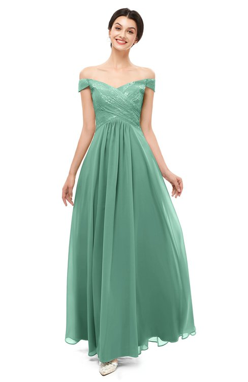 ColsBM Lilith Beryl Green Bridesmaid Dresses Off The Shoulder Pleated Short Sleeve Romantic Zip up A-line