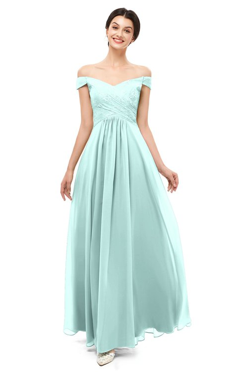 ColsBM Lilith Blue Glass Bridesmaid Dresses Off The Shoulder Pleated Short Sleeve Romantic Zip up A-line